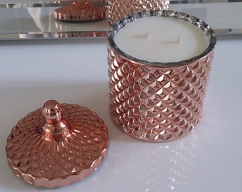 Rose gold geometric glass soy candle 250g