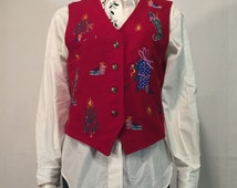 UGLY CHRISTMAS Vest SWEATER Small Trees Stockings Figure S