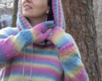 Hand knitted MOHAIR SWEATER (with neck piece, gaiters and gloves)