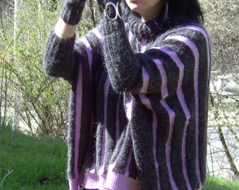 Hand knitted soft and fuzzy MOHAIR SWEATER (with mittens)