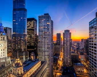 Chicago Skyline Wrigley Building Sunset Art Photography Print Wall Decor