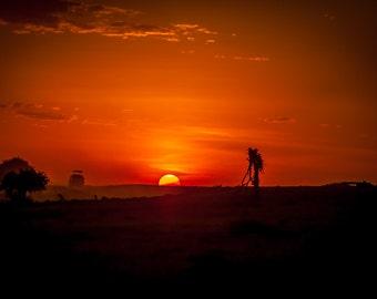 Kenya Africa Safari Sunset Art Photo Print Wall Decor