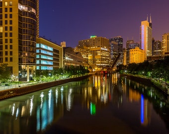 Chicago River Skyline Buildings at Night Art Photography Print Wall Decor