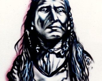Native American portrait, airbrush t shirt, Native American shirt, custom tees, Native American pillowcases, gift for him,