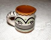 Ceramic creamer in a folk style. Small creamer. Soviet folk vintage. Folk pottery. Vintage creamer.
