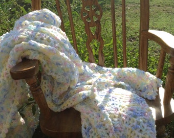 Pastel Cotton Candy Ripple Afghan