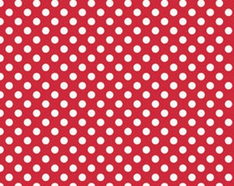White on Red Small Dot by Riley Blake Designs - polka dots - Quilting Cotton Fabric - by the yard fat quarter half