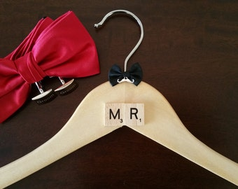 "Mens Wedding Suit Hanger ""MR"" Shabby Chic Vintage Moustache Design"
