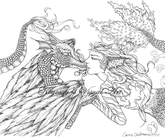 Adult fantasy coloring page digital download digi print for Mythical coloring pages for adults