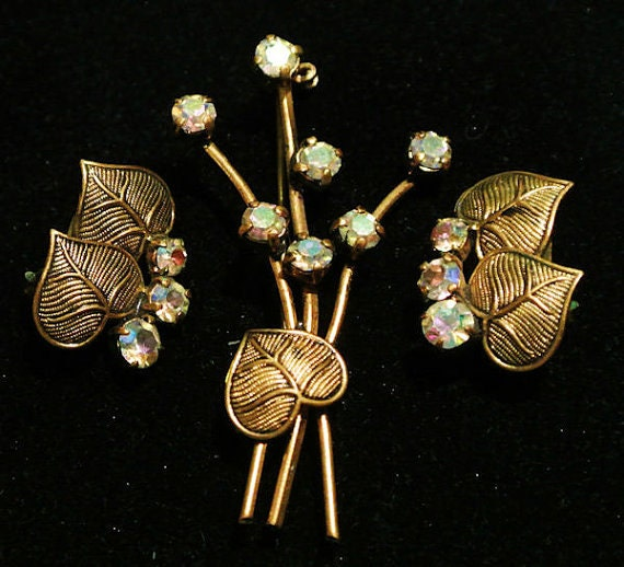 Germany Rhinestone Brooch Earrings Set Germany Demi Parure 1960s 60s Mid Century Art Nouveau Revival AB Heart Shaped Water Lily Pad
