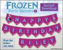 FROZEN theme banner personalised with name and age! Printable Olaf, Elsa, Anna Frozen party flags to make your own. All letters numbers incl