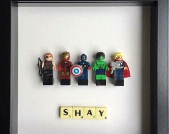 Customised Superhero Lego Frames - Marvel, DC, Avengers, Spiderman, Batman, scrabble
