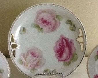 P K Silesia Pink Rose Dessert Set