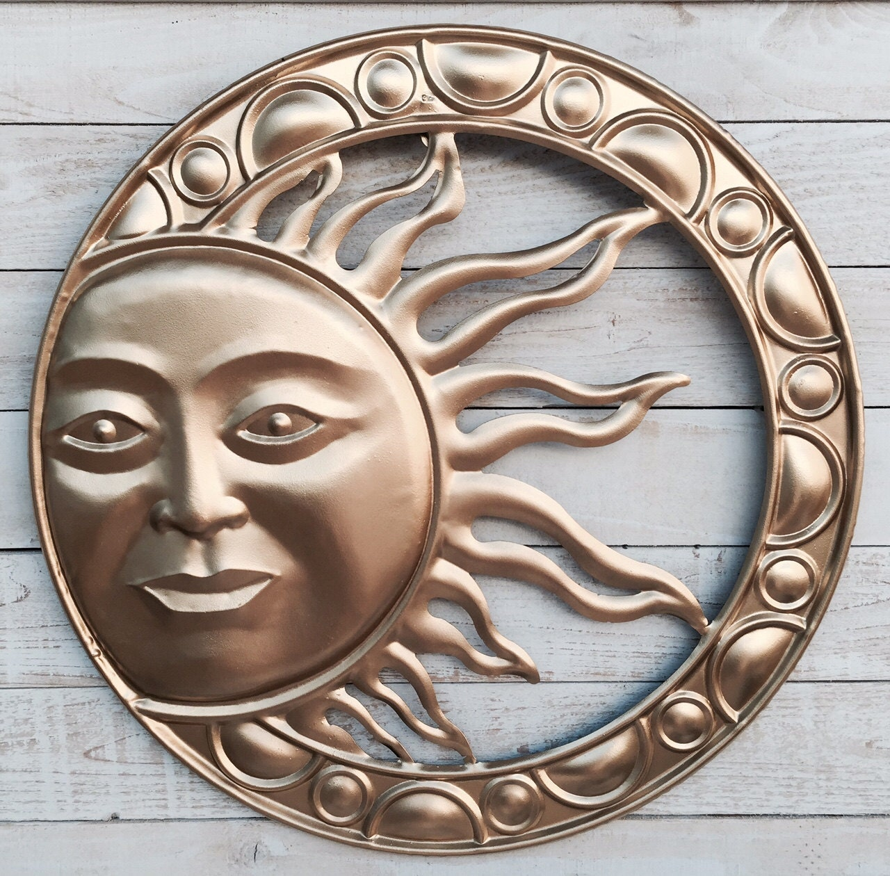 Rustic Outdoor Wall Decor : Sun garden rustic metal wall decor hanging gold by