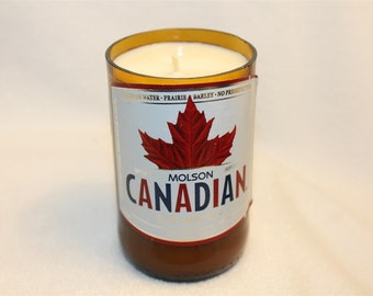 Custom Scented Soy Candle - Molson Canadian Glass Beer Bottle Soy Candle with personalized Scent or Fragrance