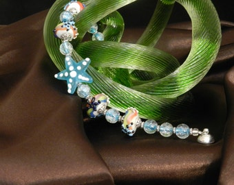 FT454 Starfish by the Sea Lampwork Bracelet, Size 7.25""