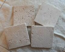 Plain Natural Stone Coasters , Travertine Coasters [Set of 4 or 6] - Great Housewarming Gift!