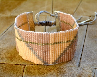 Cuff Bracelet hand woven miyuki seed beads