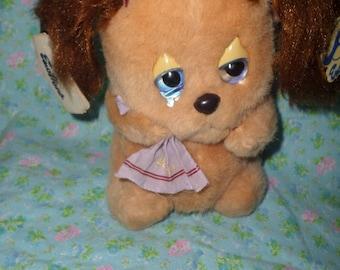 Vintage Emotions Dog plush Boo Hoo Hoo tear in eye hanky girl NWT