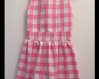 Pink dress checkered gingham size 6 years