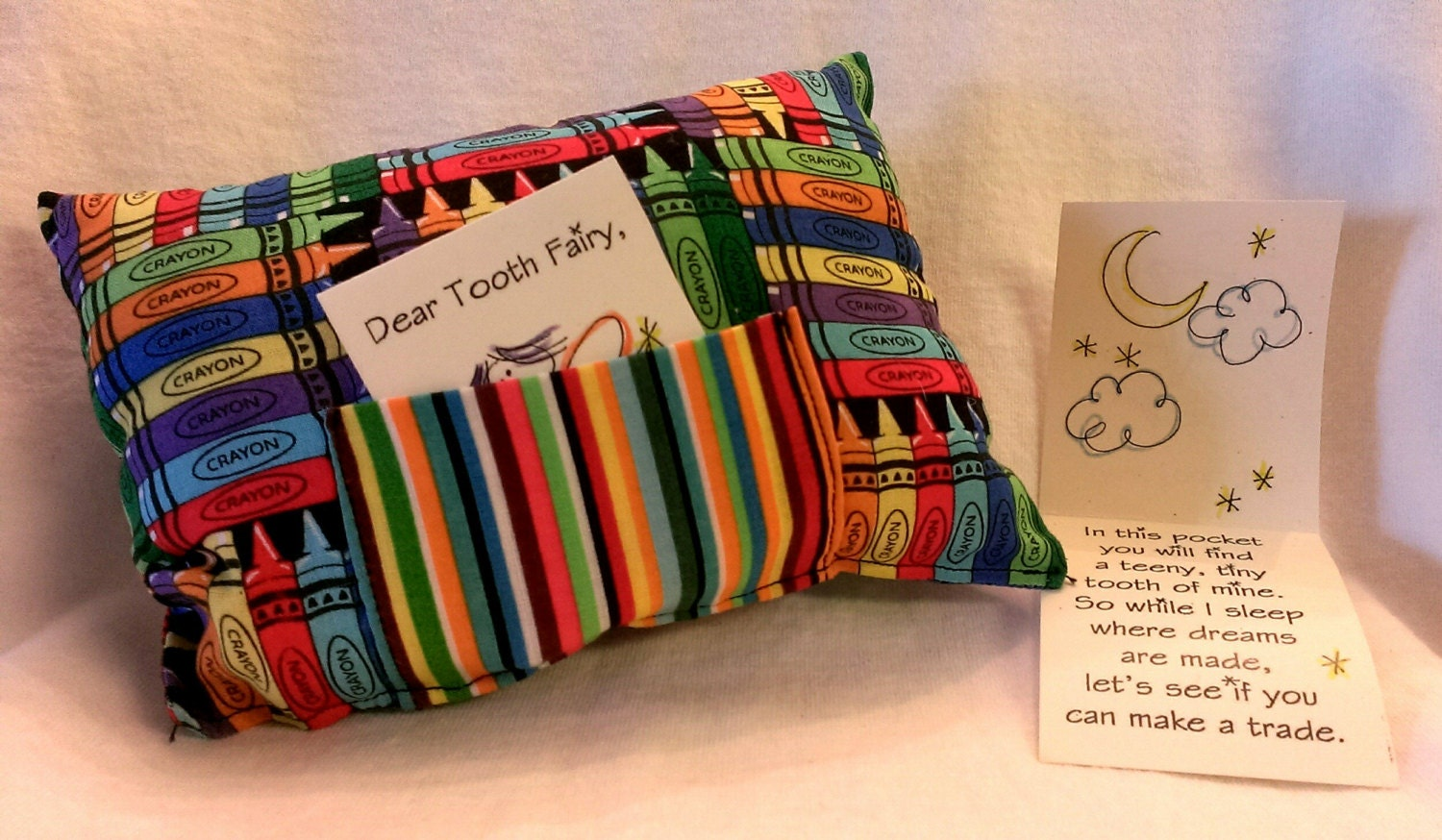 Tooth Fairy Pillow colorful crayons by JunkWeLove on Etsy