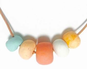 The Golden Cowrie Necklace | Handmade Beaded Necklace with Apricot, Peach, Turquoise.