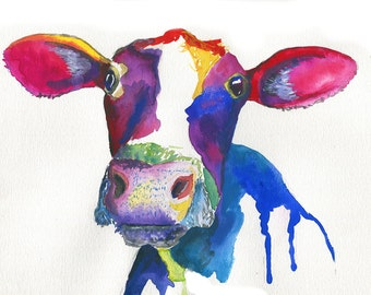 Watercolor Print / Abstract Print/ Cow Painting / Watercolor Wall Art / Nature Print