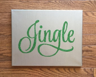 Handpainted Jingle Canvas, Christmas art, Christmas canvas, holiday art, room decoration, Santa, wedding gift, seasonal decoration, wall art