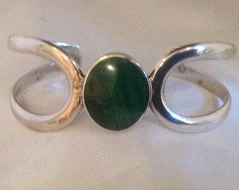 Sterling Silver Malachite Taxco Cuff Bracelet