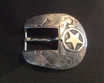 "Sterling Silver and 14K Yellow Gold Edward Baird ""The Cowboy"" Belt Buckle made for Rewards"