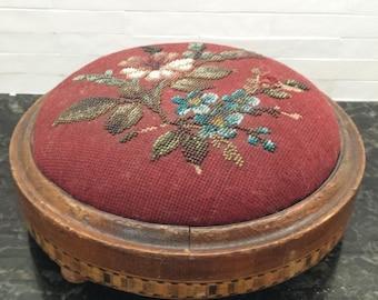 Antique Victorian Tunbridge Ware Beaded Needlepoint Footstool