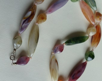 Faux Gemstone Necklace,Vintage Lucite Necklace Multi Color Long Chunky Necklace, Green Purple Amber Brown Ivory White Necklace, Boho Jewelry