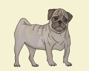 Pug Dog Watercolour Print