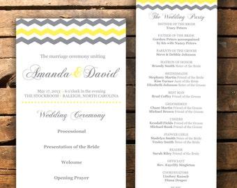Chevron Wedding Program