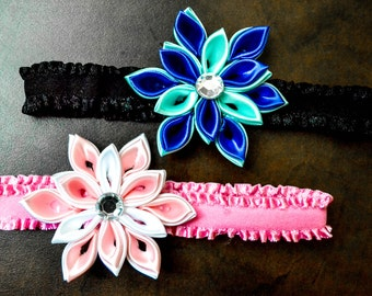 Baby and kid flower headband kazashi style