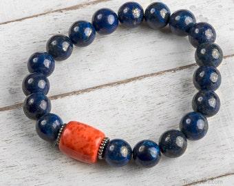Wrist Mala Bracelet, Lapis Lazuli Mala Bracelet With Red Coral - Healing Stone Bracelet - Good Luck Bracelet - Gemstone Bracelet