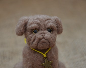 Dogue De Bordeaux - needle felted sculpture