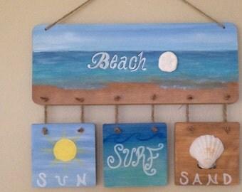 Beach sign, welcome, beach decor, Beach-Sun Surf Sand sign