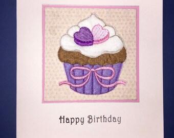 Cupcake Hearts Applique Birthday Card