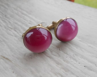 Vintage Pink Glass Cufflinks. 1960s.