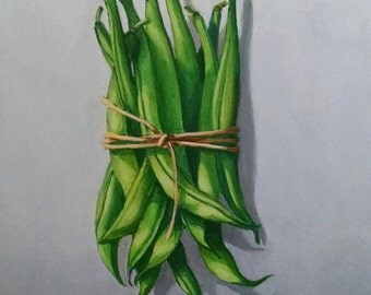 Oil painting of string beans on board (8x6). Unframed.