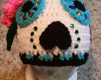 SALE*** Sugar Skull crochet hat Day of the Dead