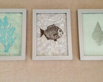 Set of three ocean inspired pictures