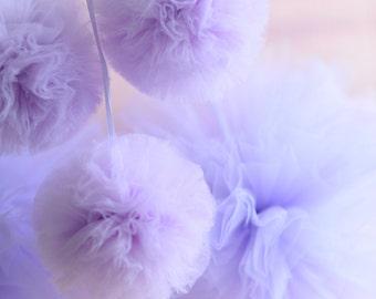 4 tulle pom pom set / wedding party decorations pom poms - your colors - value set
