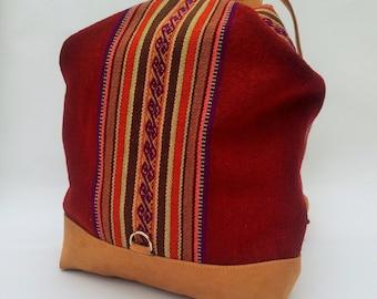 BACKPACK Peruvian Handwoven Wool Bag, Andean patterns, Peru bag, Hipster backpack, Ethnic rucksack, Boho backpack, Tribal bag, Red
