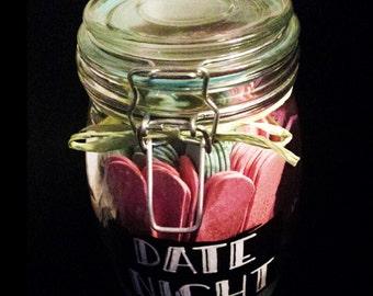 Date Night - Handpainted Glass Jar