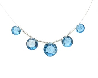 Unique Swiss Blue Topaz Carved Faceted Beads- BT001