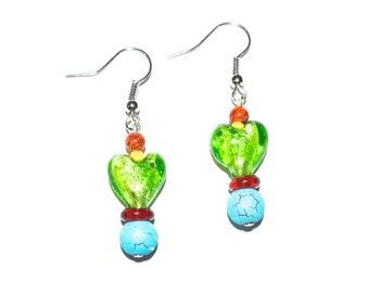 Green Foil Heart Earrings - 007