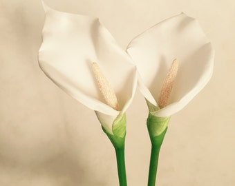 "White Calla Lily Flower, Faux, Artificial, Wedding Flowers - 28"" Tall"