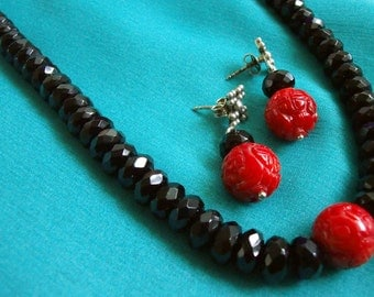 "Ocean Treasures - Carved Motive Red Coral, Faceted Black Onyx Necklace(16"") and Earrings w/ Sterling Silver Clasps"